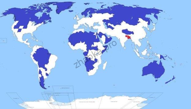 В областях, забарвлених синім, живе стільки ж людей, скільки і в червоній крапці: 5% населення світу