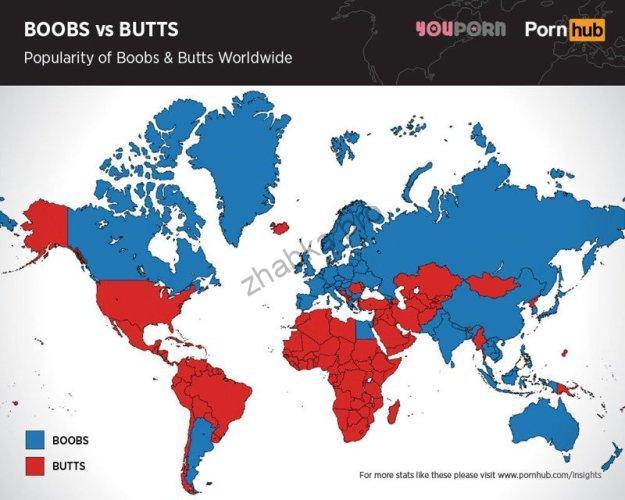 В яких країнах відвідувачі порно-сайтів полюбляють попу, а в яких – груди